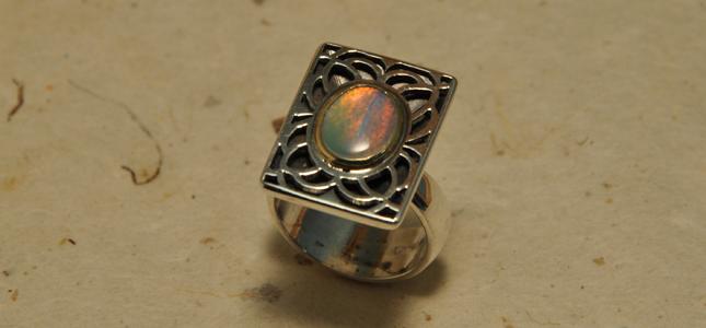 argento, oro e opale  | anelli in argento