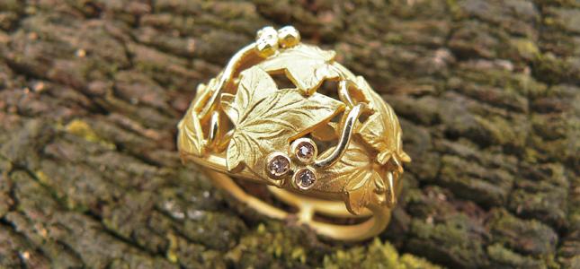 foglie d'edera | anelli in oro