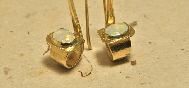 green gold and opals  | earrings