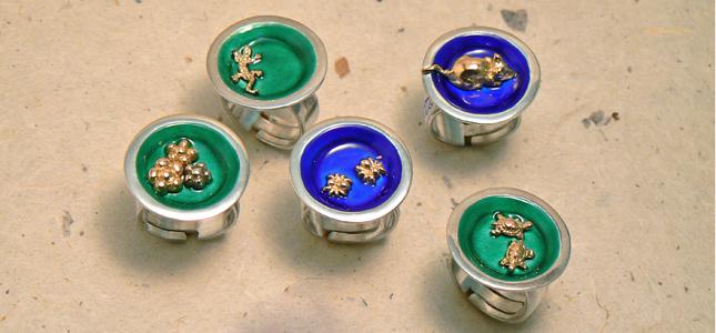 piatti colorati | anelli in argento
