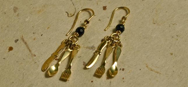 gold silverware | earrings