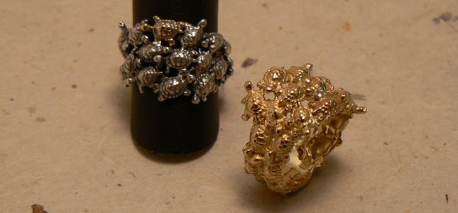 tartarughe argento e oro | anelli in oro